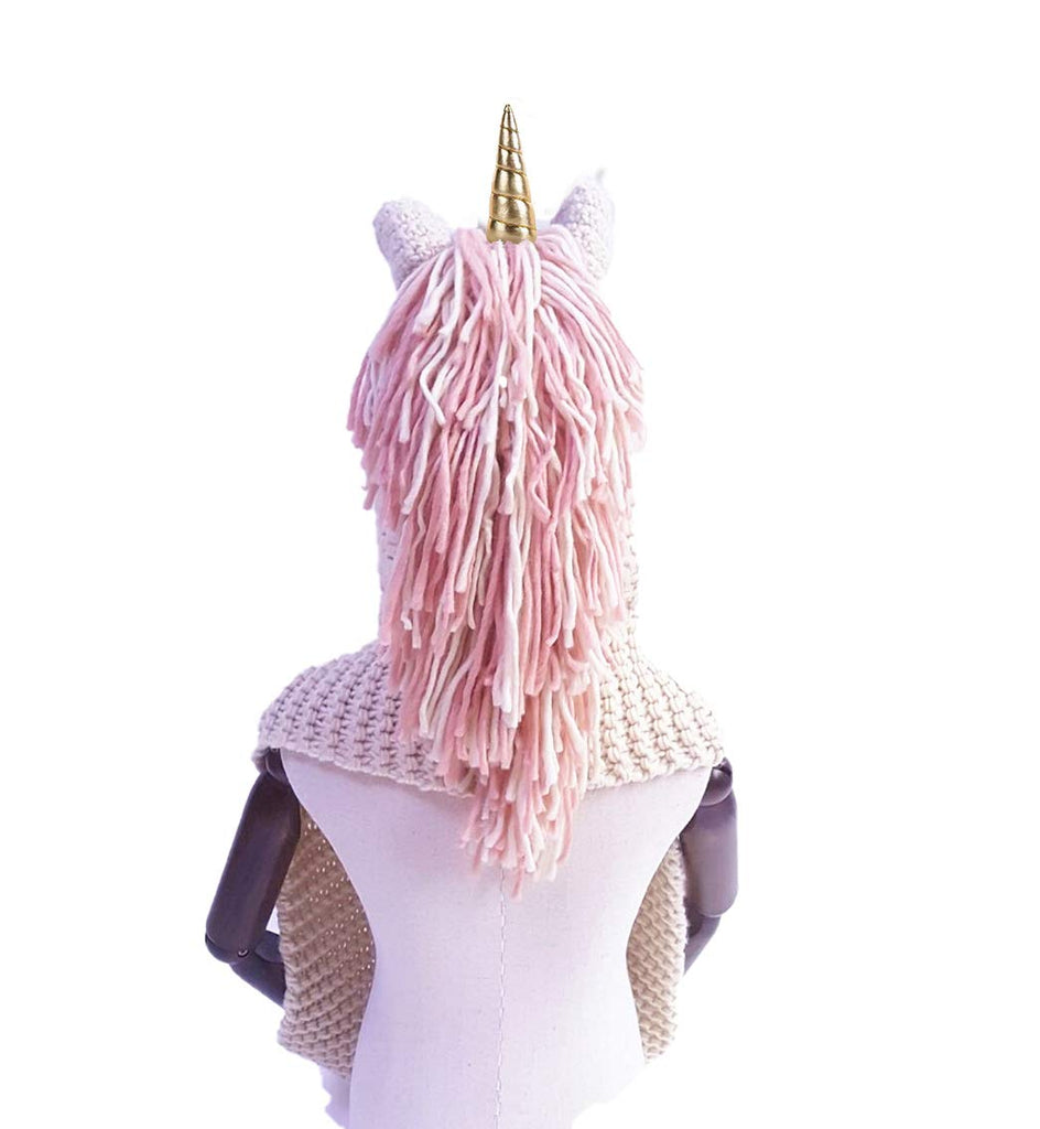 Unicorn Hoodie Wool Winter Hat Scarf