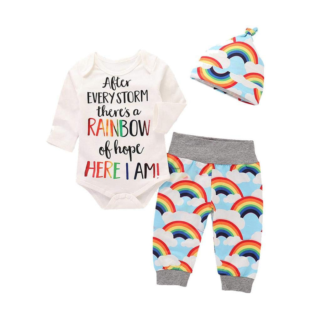 Rainbow Print Romper Babygrow, Pants and Hat Outfits Set