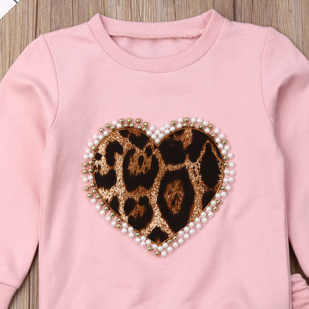 Toddler Baby Girl Leopard Tracksuit Top and Bottoms Set