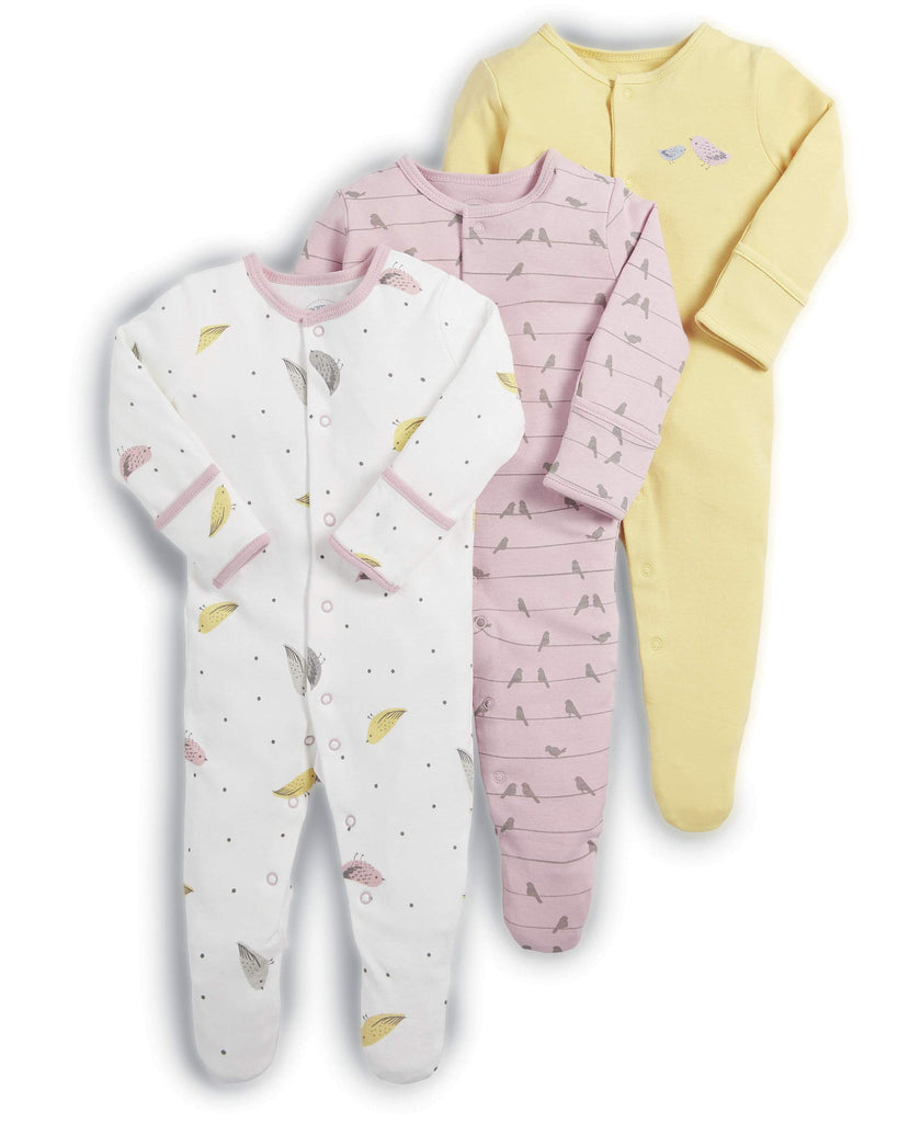 Mamas and Papas Baby Girls' 3 pack Bird Sleepsuits