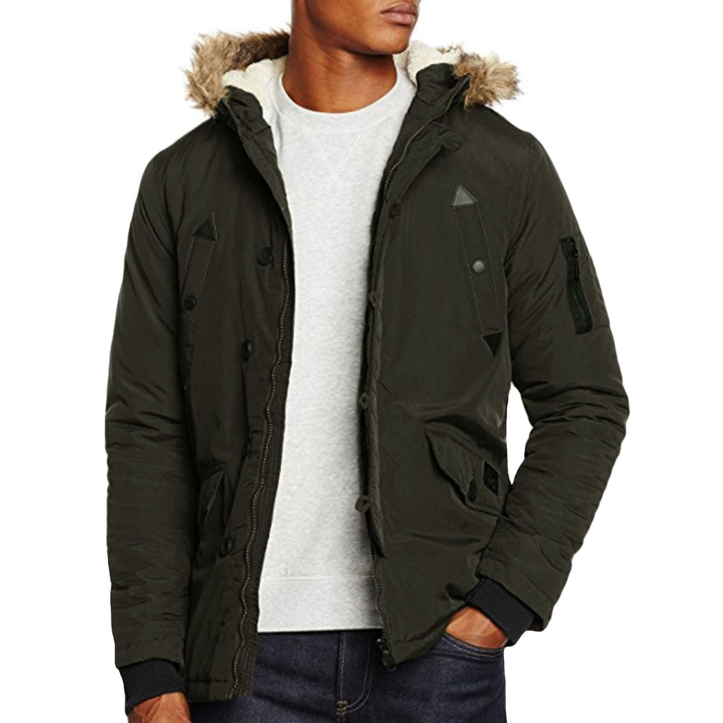 Parka Fur Trimmer Hooded Jacket Coat
