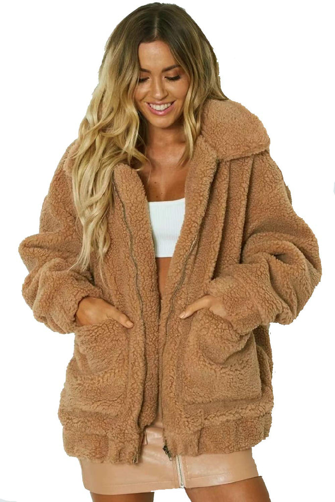 Warm  Long Sleeve Plush Coat Fluffy Faux Fur Winter Cardigan