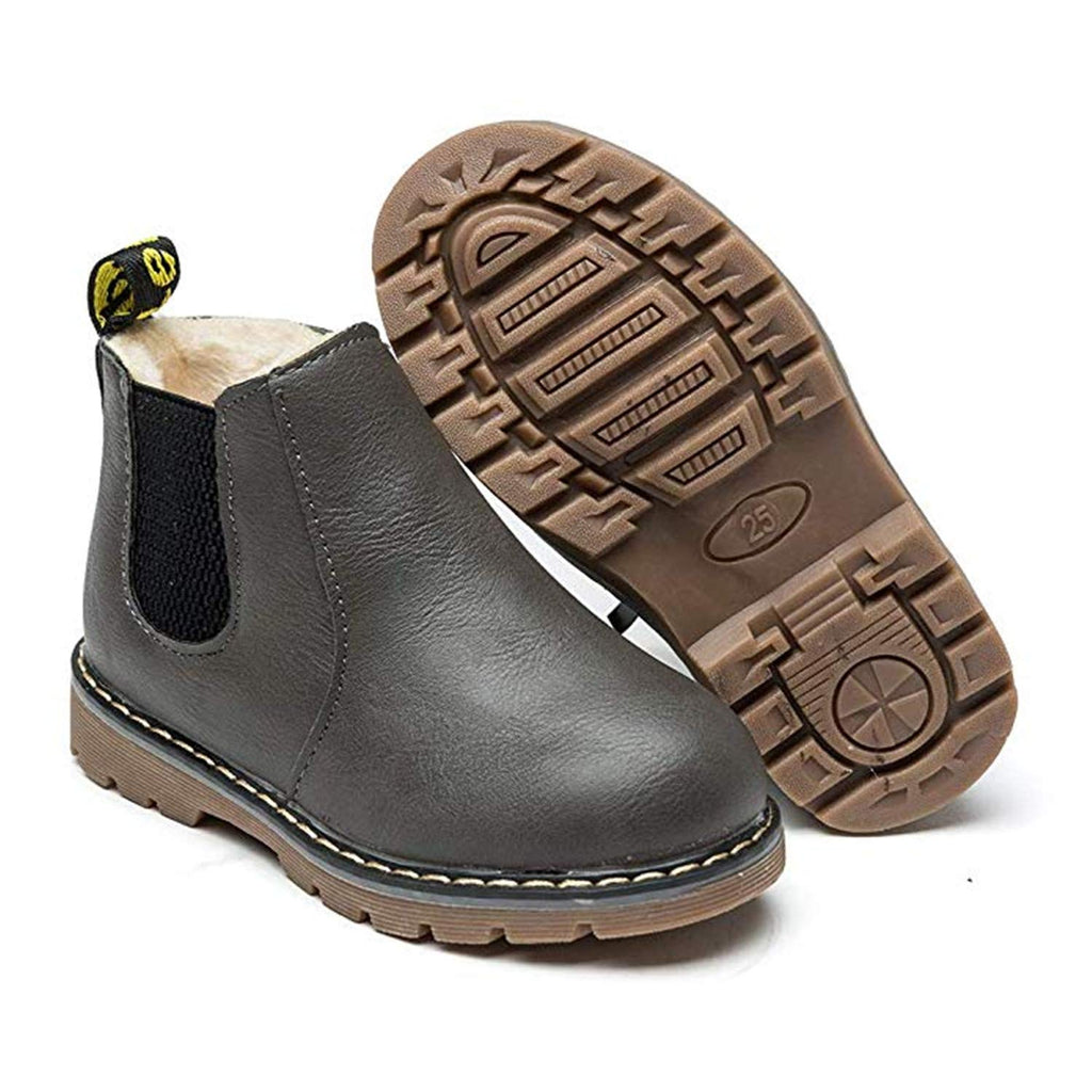 Kids Fur Lined Leather Winter Ankle Boots
