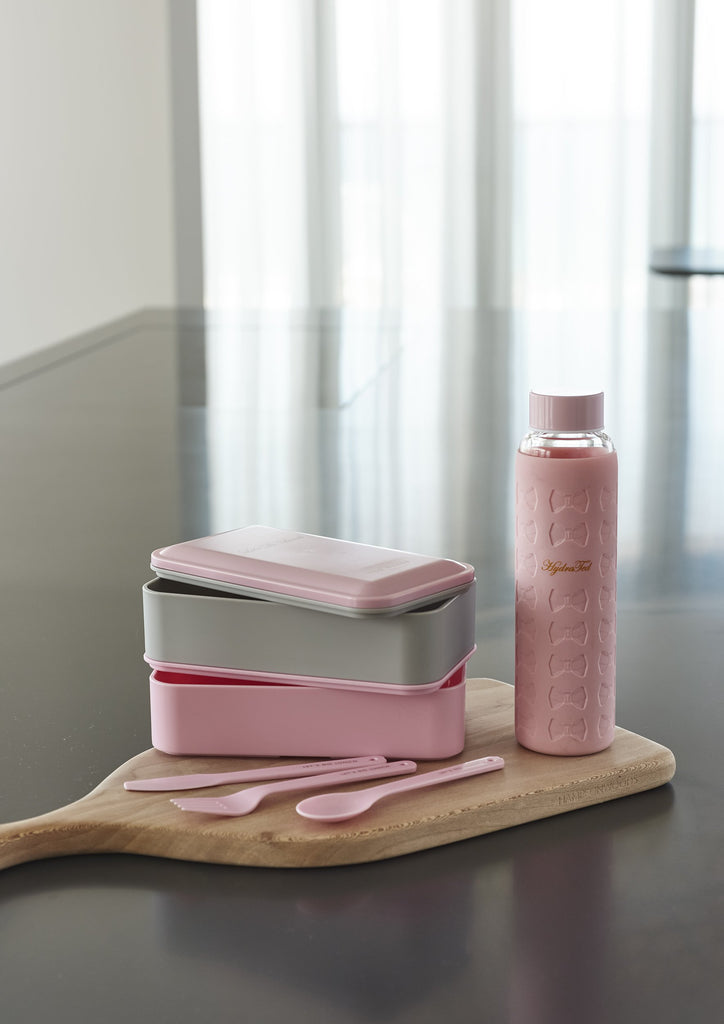 Ted Baker Pink & Grey Two Tier Stacking Lunch Box