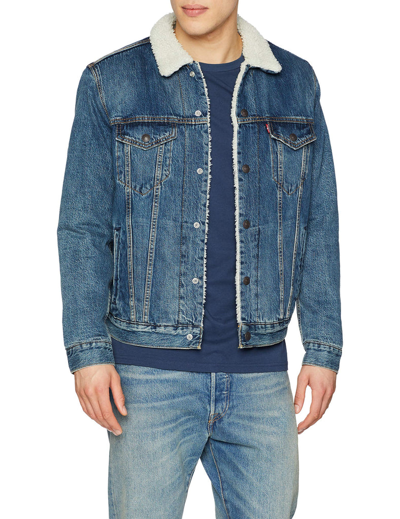 Levi's Men's Blue Fur Lined Denim Jacket