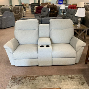 Caitlin Silver Reclining Loveseat with Cupholder