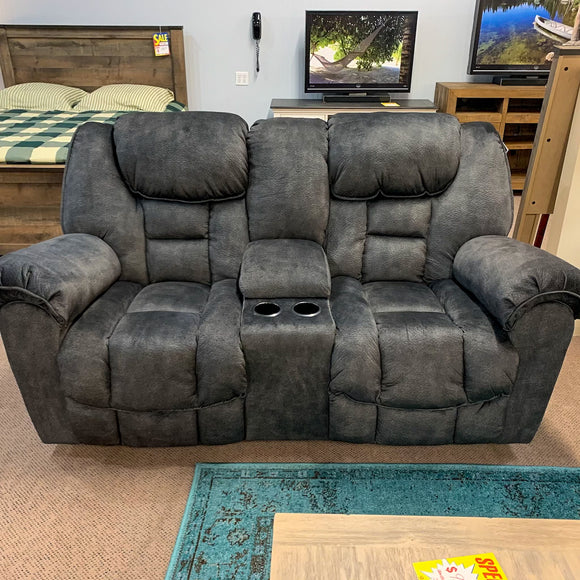 Chenille Reclining Loveseat with Console