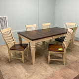 White Rowyn Wood Leg Table & 6 Chairs