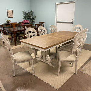 Eleanor White Trestle Table & 8 Chairs