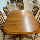 Solid Oak Pedestal Tables & 6 Chairs