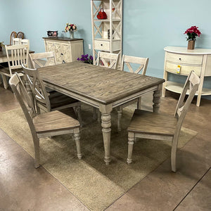 Cottage Lane Rectangular Leg Table & 6 Chairs