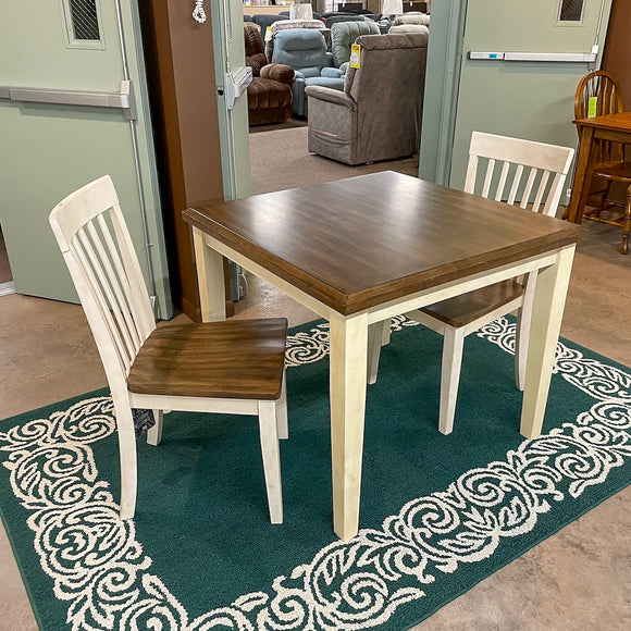 Simple Turning Leg Table & 2 Chairs