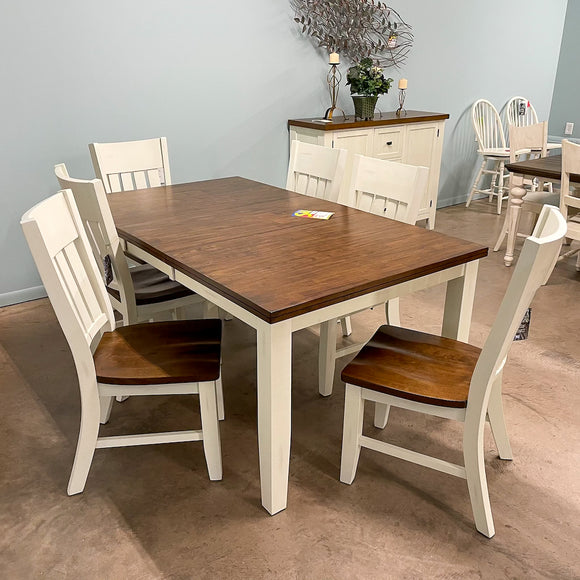 White Casanova Leg Table & 6 Chairs