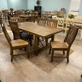 Rustic Lodge Fixed Top Dining Table & 6 Chairs