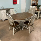 White Chenille Table & 4 Chairs