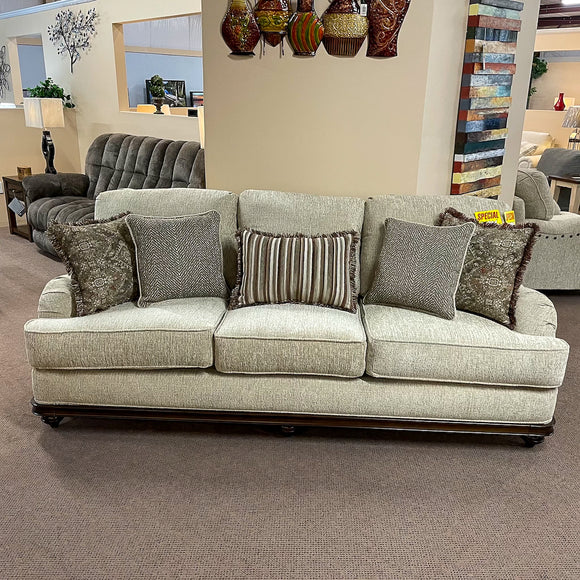 Melanie Sofa, Loveseat & Chair with Wood Trim