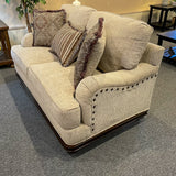 Melanie Sofa & Loveseat with Wood Trim