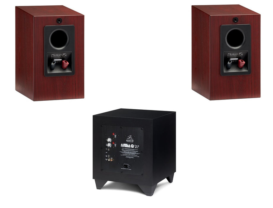"Martin Logan Motion 15i Bookshelf Speakers Pair and Dynamo 400 8"" Powered Subwoofer Bundle - Safe and Sound HQ"