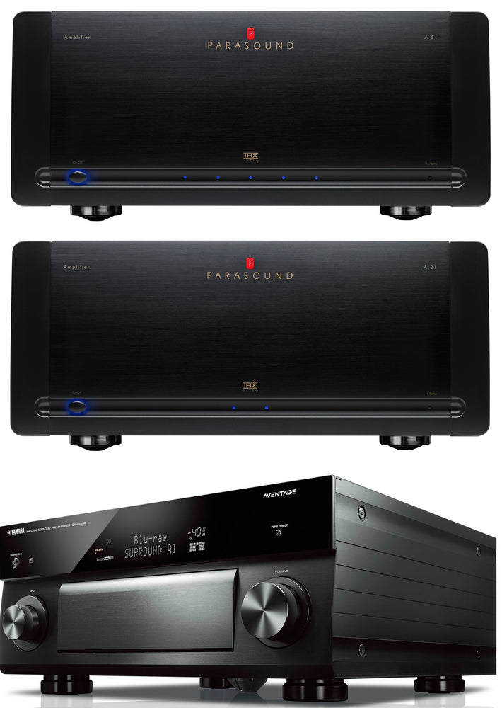Parasound Halo A51 5 Channel Power Amplifier, Parasound Halo A21 2 Channel Power Amplifier and Yamaha CX-A5200 11.2 Channel A/V Preamplifier Bundle - Safe and Sound HQ