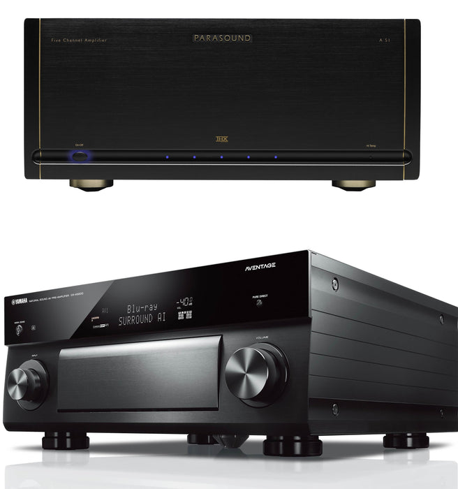 Parasound Halo A51 5 Channel Power Amplifier and Yamaha CX-A5200 11.2 Channel A/V Preamplifier Bundle - Safe and Sound HQ