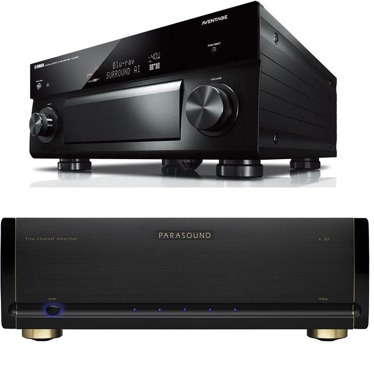 Parasound Halo A52+ 5 Channel Power Amplifier and Yamaha CX-A5200 11.2 Channel A/V Preamplifier Bundle - Safe and Sound HQ