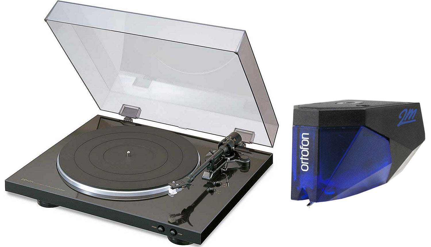 Denon DP-300F Turntable with Ortofon 2M Blue Phono Cartridge Bundle - Safe and Sound HQ