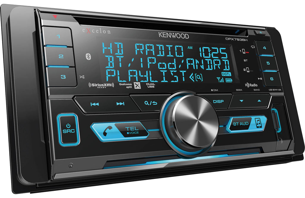 Kenwood Excelon DPX793BH 2-Din CD Receiver with Bluetooth and HD Radio - Safe and Sound HQ