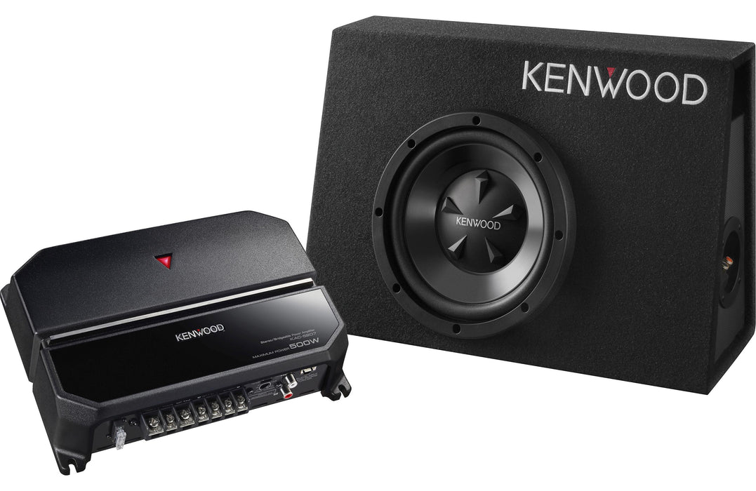 "Kenwood P-W101B Sealed Enclosure Box 10"" Subwoofer and KAC-5207 Package - Safe and Sound HQ"