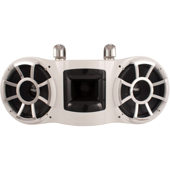 "Wet Sounds REV 410 W-SC V2 Revolution Series Dual 10"" White Tower Speaker with TC3 Swivel Clamps - Safe and Sound HQ"