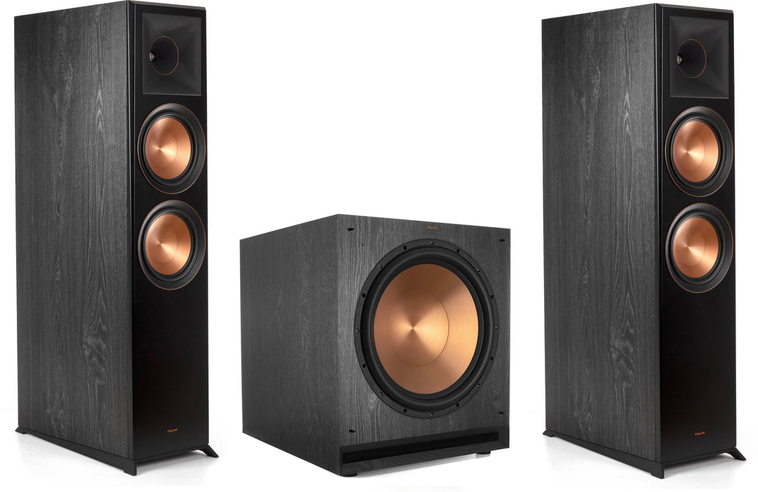 "Klipsch RP-8060FA Reference Premiere Floorstanding Speakers Pair and Klipsch SPL-150 15"" Powered Subwoofer Bundle - Safe and Sound HQ"