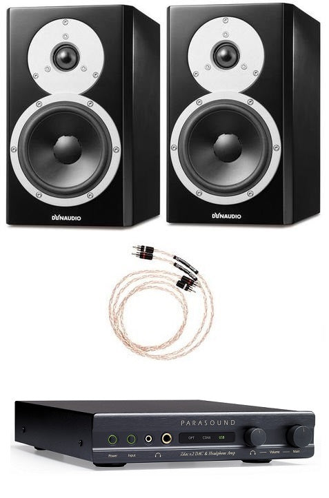 Dynaudio Excite X14A Powered Bookshelf Pair and Parasound ZDac V.2 Dac and Headphone Amplifier Bundle - Safe and Sound HQ