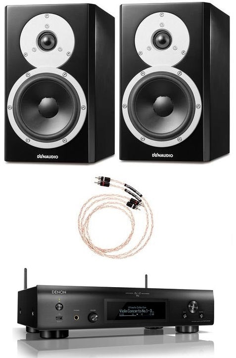 Dynaudio Excite X14A Powered Bookshelf Pair and Denon DNP-800NE Streaming Music Player Bundle - Safe and Sound HQ