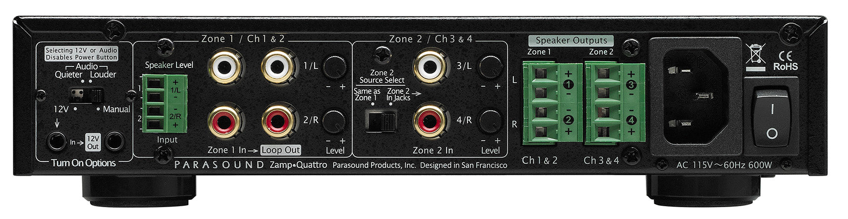Parasound ZAmp Quattro Four Channel Dual Zone Power Amplifier - Safe and Sound HQ