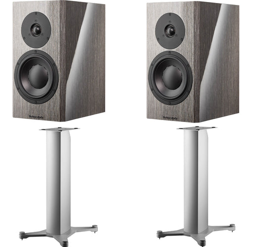 Dynaudio Special Forty Anniversary Bookshelf Speakers Grey Birch with Stand 20 Silver Speaker Stands (Pair) - Safe and Sound HQ