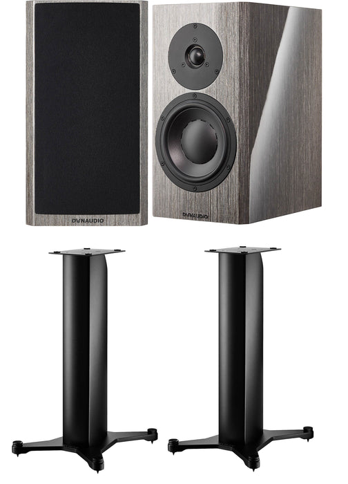 Dynaudio Special Forty Anniversary Bookshelf Speakers with Stand 20 Satin Black Speaker Stands (Pair) - Safe and Sound HQ