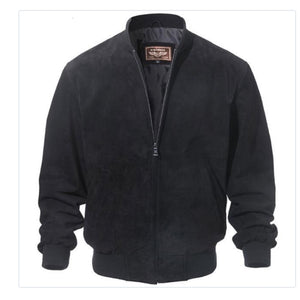 Luxury Men Classic Real Pigskin Coat Genuine Baseball Bomber Leather Jacket