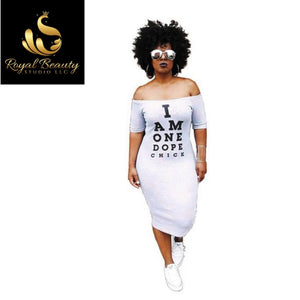Casual Bodycon Dress Women Cold Shoulder Letter