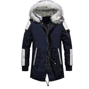 Get Money Men Parka Cotton Fleece Jackets Coats Fur Collar