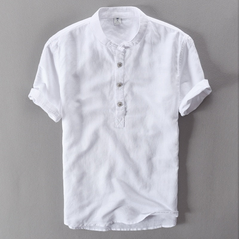 summer linen Shirt casual men's short sleeved shirts