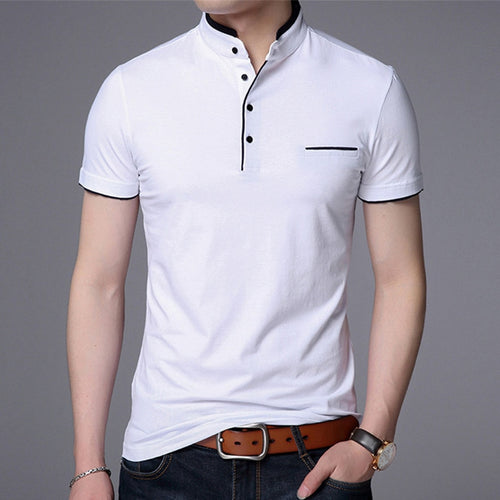 """GQ"" Men Polo Short Sleeve Solid Fashion Stand Collar Masculina Casual Cotton Tops Plus Size M-4X"