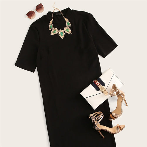 Classy Black Plus Size Mock-neck Solid Pencil Slim Dress Office Lady Bodycon Long Dresses