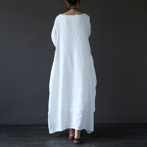 """Easy Breezy"" Plus Size Dresses Women 4xl 5xl Loose long vintage Shirt Dress Maxi Robe fashion Female Q293"