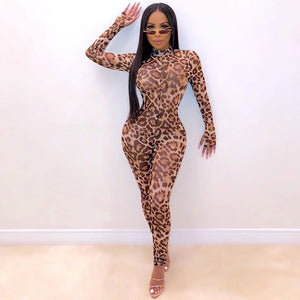 Leopard print sexy women mesh long jumpsuit