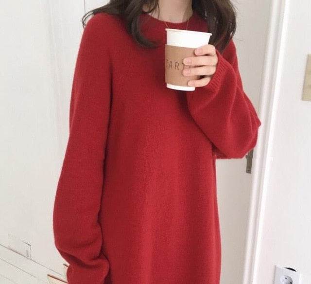 Winter Long Sweater Dress Female Long Sleeve Straight Knitted maxi Plus Size pull