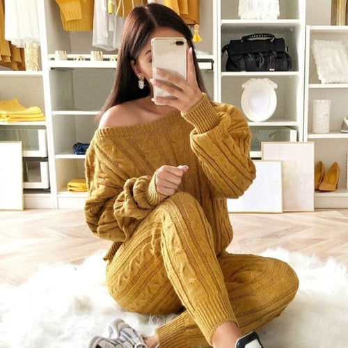 """CALI SET"" Autumn New Cotton Tracksuit Women 2 Piece Set Sweater Knitted Suit Knit Set"