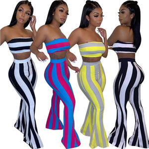 """Beauty is my name"" Women Two Piece Outfits  Club Crop Top and Flare Pants"