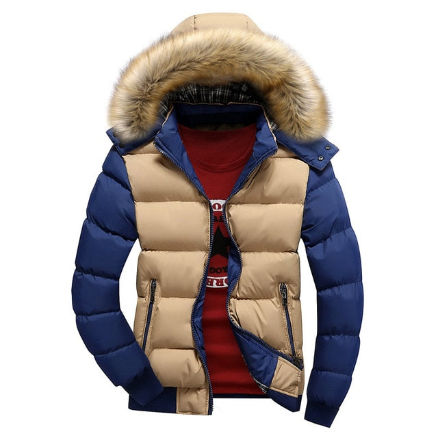 2019 Small-4X Brand New Winter Jacket Men Warm Down Jacket 9 Color Fashion Brand With Fur Hood Hat Men Outwear Coat Casual Thick Mens 4XL