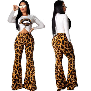 Leopard Lips Print Tops Cheetah Flare Pants Matching Sets Sexy 2 Piece Outfits HAOOHU