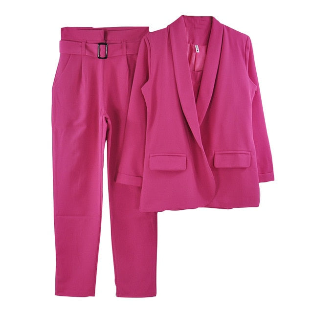 """Boss Lady""  Office Ladies Solid 3 Pieces Set Buttonless Slim Blazer CamisTops"
