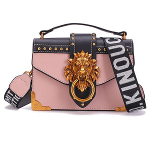 Foreign Fashion Metal Lion Head Shoulder Bag Crossbody Designer
